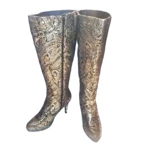 Ashley Stewart Paisley Gold Glam Knee Hi Boots 9W